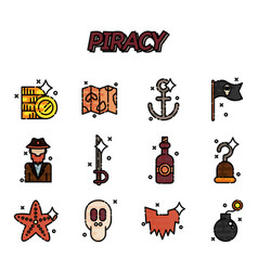 piracy flat icons set vector image