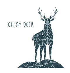 polygonal deer print with lettering scandinavian vector image