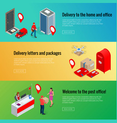 post horizontal banners set with isometric post vector image