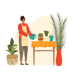 pot home plants and woman planter gardening urban vector image