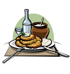 Potato pancakes with sour cream vector