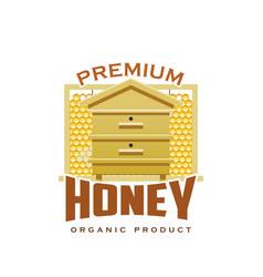 premium honey product hive honeycomb icon vector image