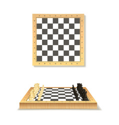 realistic detailed 3d wooden chessboard set vector image
