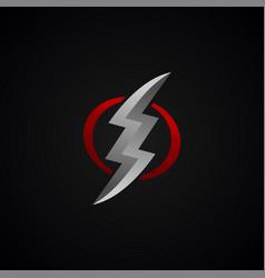 red silver lightning bolt thunder sign vector image