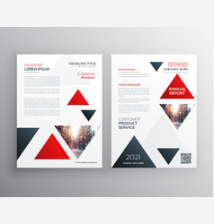 Red triangle modern business brochure flyer vector