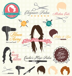 Retro Style Hair Salon Labels and Icon vector image
