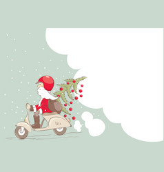 santa on a scooter with a christmas tree and gifts vector image