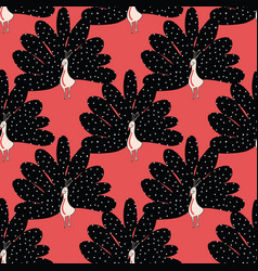 seamless pattern cute abstract peacock vector image