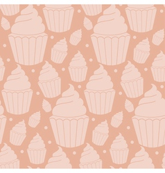 Seamless pattern of homemade cupcakes vector image