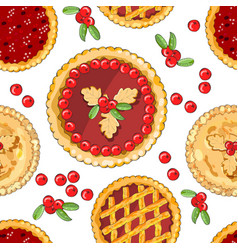 Seamless pattern with cranberry pies the theme of vector