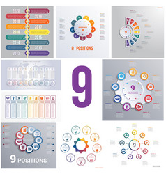 set 9 universal templates elements infographics vector image