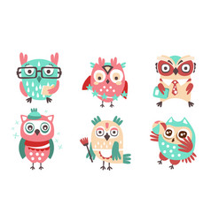 Set cute humanized owls with accessories vector