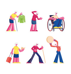 set elderly characters disability hoband vector image