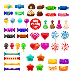 set of different sweets on white background - hard vector image