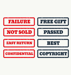 set of rubber stamps with various texts vector image