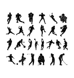 Set of sports people silhouettes collection vector