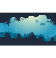 silhouette of fish and turtle beauty landscape vector image