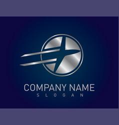 Silver airplane logo vector