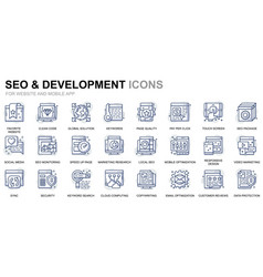 simple set development line icons for website vector image