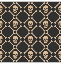 Skull seamless dark pattern vector image