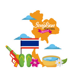 Songkran festival thailand map landmark flag vector