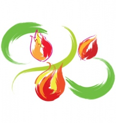 still life with red tulips vector image