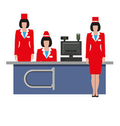 store employees in uniform vector image