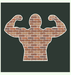 strong man of bricks vector image