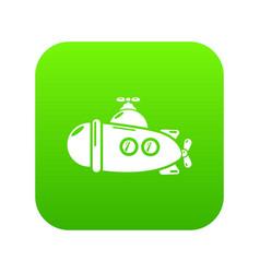submarine sea icon green vector image