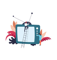 television tv person on ladder fixing antenna vector image
