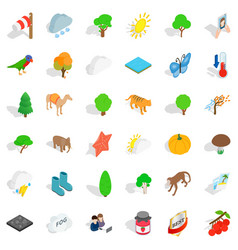 Terrain icons set isometric style vector
