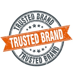 Trusted brand round orange grungy vintage isolated vector