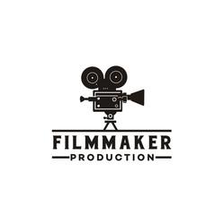 vintage video camera logo design for movie or vector image