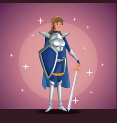 Warrior princess in costume party in spotlight vector