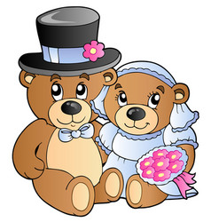wedding teddy bears vector image