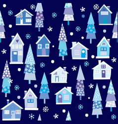 winter seamless background with houses and trees vector image