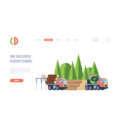 wooden production business landing web page vector image