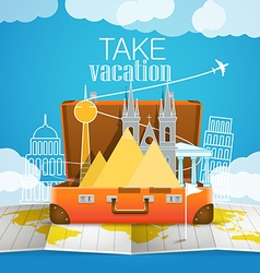 World map with the open bag Vacation concept vector image