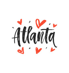 atlanta modern city hand written brush lettering vector image