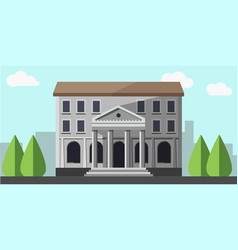 bank grey building isolated near green trees vector image
