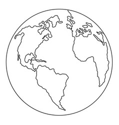 continent planet icon outline style vector image