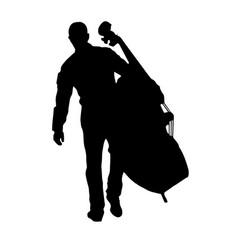 musician holding the big cello vector image vector image
