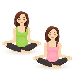 Pregnant woman practicing yoga in lotus pose vector image vector image