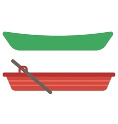 Rowing boat with paddles and canoe vector image