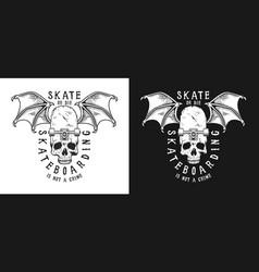set of skateboarding emblems vector image