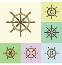 Ship Steering Helm Flat Icons Set vector image