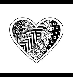 black and white heart vector image vector image