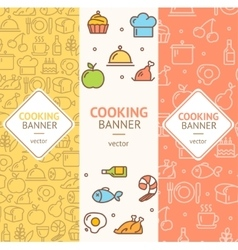 Cooking Banner Flyer Vertical Set vector image vector image