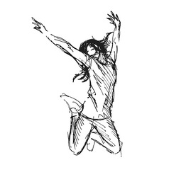 Hand sketch leaping woman vector image vector image