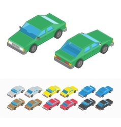 Multicolored isometric car set vector image